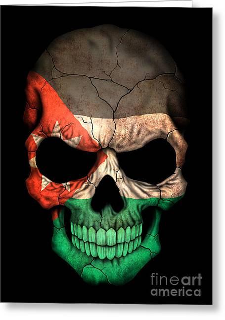 Jordanian Greeting Cards - Dark Jordanian Flag Skull Greeting Card by Jeff Bartelns