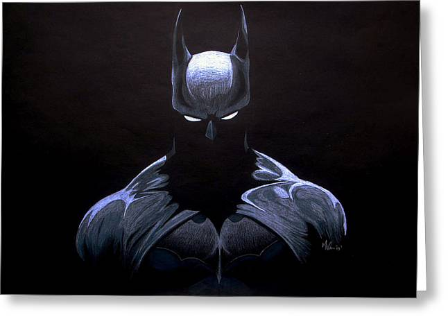 Gotham City Mixed Media Greeting Cards - Dark Knight Greeting Card by Marcus Quinn