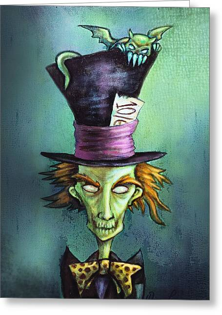 Fiendish Greeting Cards - Dark Mad Hatter Greeting Card by Diana Levin