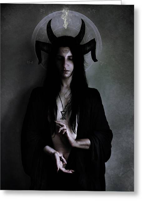 Dark Meditation Greeting Card by Cambion Art
