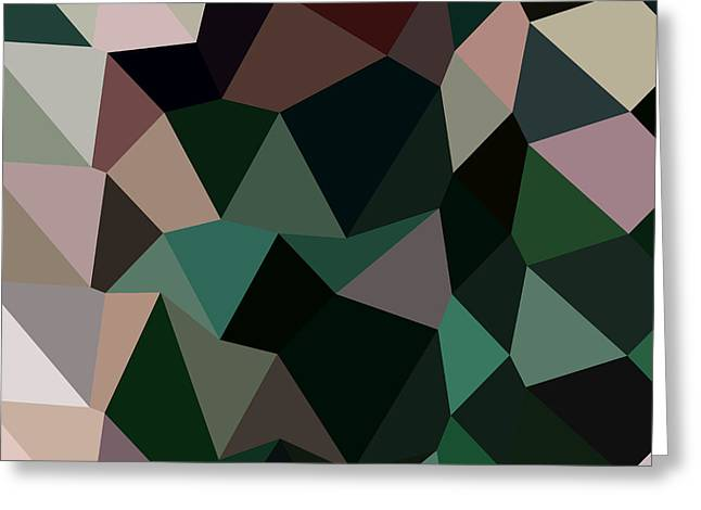 Moss Green Greeting Cards - Dark Moss Green Abstract Low Polygon Background Greeting Card by Aloysius Patrimonio