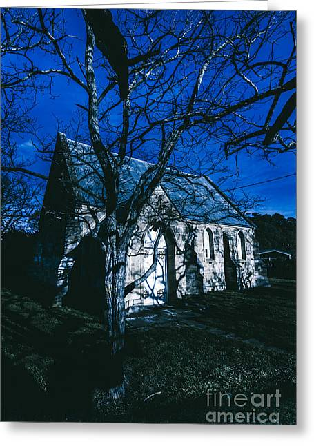 Dark Mysterious Church Greeting Card by Jorgo Photography - Wall Art Gallery