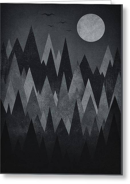 Black Top Greeting Cards - Dark Mystery Abstract Geometric Triangle Peak Woods black and white Greeting Card by Philipp Rietz