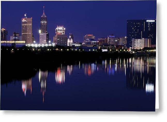 White River Greeting Cards - Dark Night in Indy Greeting Card by Frozen in Time Fine Art Photography