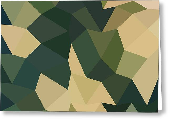 Olive Green Greeting Cards - Dark Olive Green Abstract Low Polygon Background Greeting Card by Aloysius Patrimonio