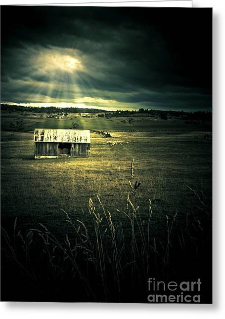 Abandonment Greeting Cards - Dark Outback Landscape Greeting Card by Ryan Jorgensen