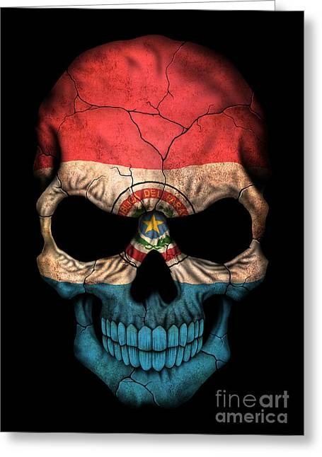 Paraguay Greeting Cards - Dark Paraguay Flag Skull Greeting Card by Jeff Bartels