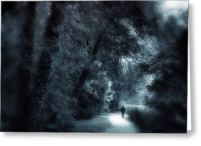 Woods Digital Art Greeting Cards - Dark Passage Greeting Card by Jessica Jenney