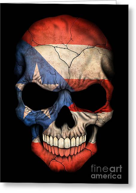 Puerto Rican Greeting Cards - Dark Puerto Rican Flag Skull Greeting Card by Jeff Bartels