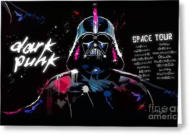 Best Sellers -  - Daft Punk Greeting Cards - Dark Punk Space Tour - Dark Vador remixed by Daft Punk  Greeting Card by Morgan Morgon