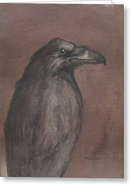 Dark Raven Greeting Card by John Holdway