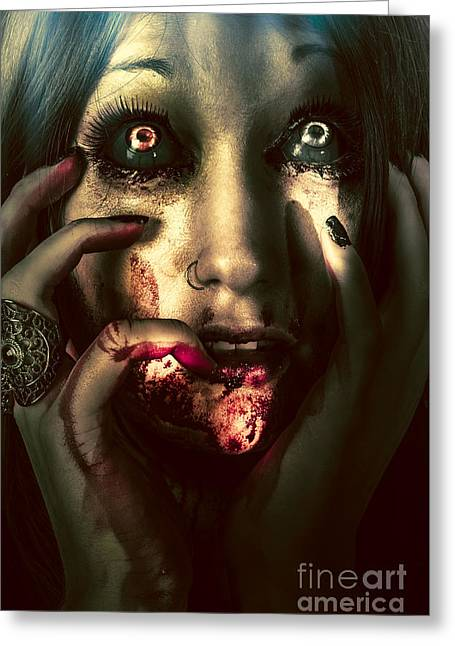 Black Widow Greeting Cards - Dark scary female face expressing bloody fear Greeting Card by Ryan Jorgensen