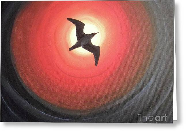 Flying Seagull Paintings Greeting Cards - Dark Seagull Greeting Card by Melina Mel P
