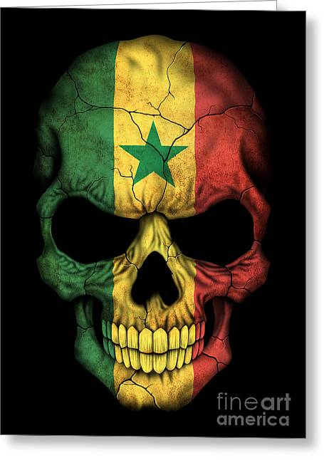 Senegal Greeting Cards - Dark Senegal Flag Skull Greeting Card by Jeff Bartels