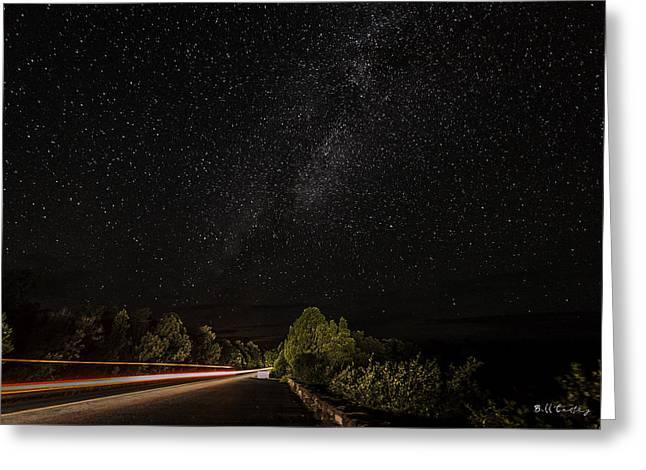 Dark Sky Beam Greeting Card by Bill Cantey