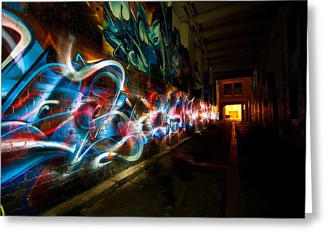 Apparel Greeting Cards - Dark Street Art Greeting Card by Michel Robert Cabrie