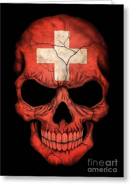Swiss Flag Greeting Cards - Dark Swiss Flag Skull Greeting Card by Jeff Bartels
