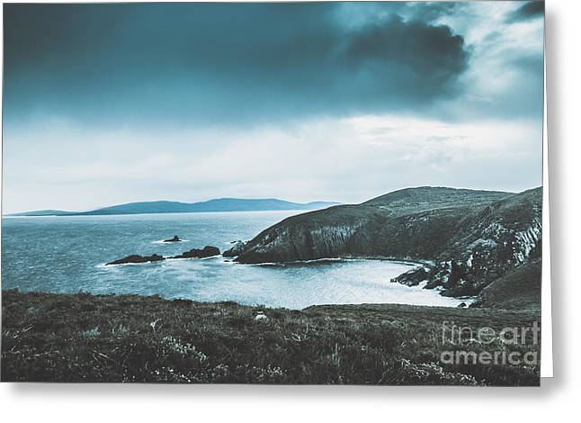 Dark Tense And Dramatic Sea Cliffs Greeting Card by Jorgo Photography - Wall Art Gallery