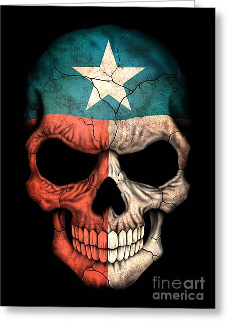 Flag Of Usa Greeting Cards - Dark Texas Flag Skull Greeting Card by Jeff Bartels