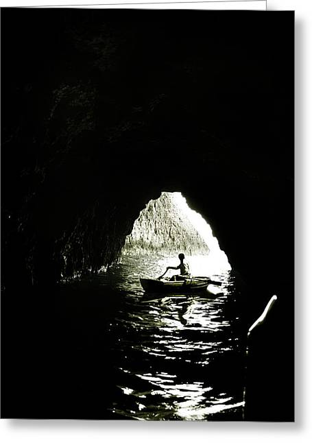 Cave Digital Greeting Cards - Darkest waters Greeting Card by Wojciech Zwolinski