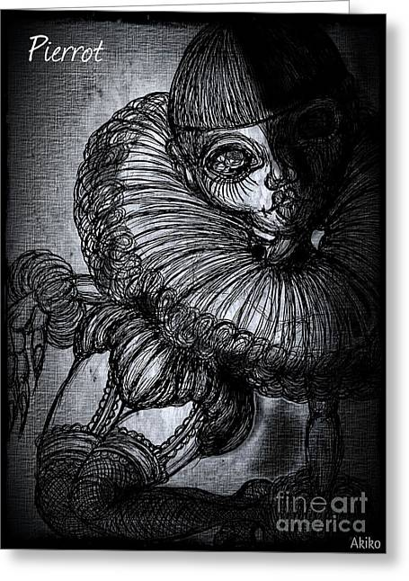 Equality Drawings Greeting Cards - Darkness Clown Greeting Card by Akiko Kobayashi