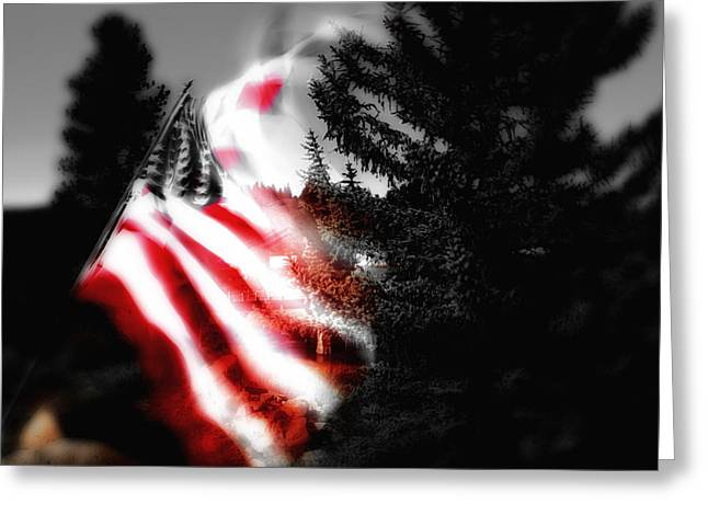Flying Flag Greeting Cards - Darkness Falling On Freedom Greeting Card by Donna Blackhall