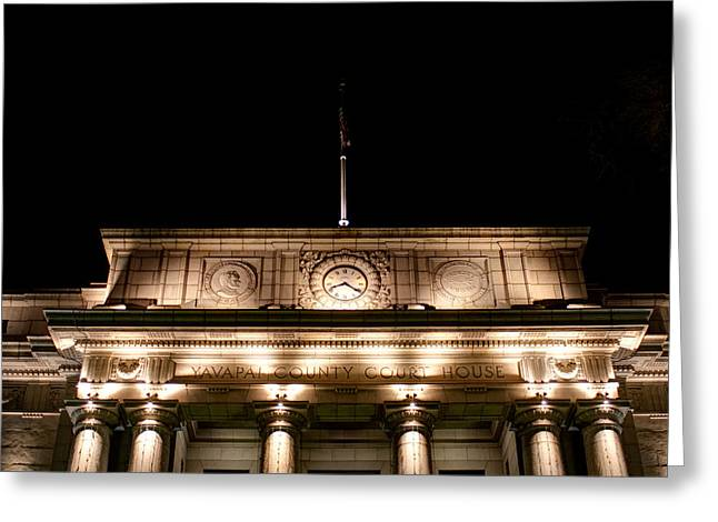 Best Sellers -  - Prescott Greeting Cards - Darkness Falls on the Courthouse Greeting Card by Austin Troya