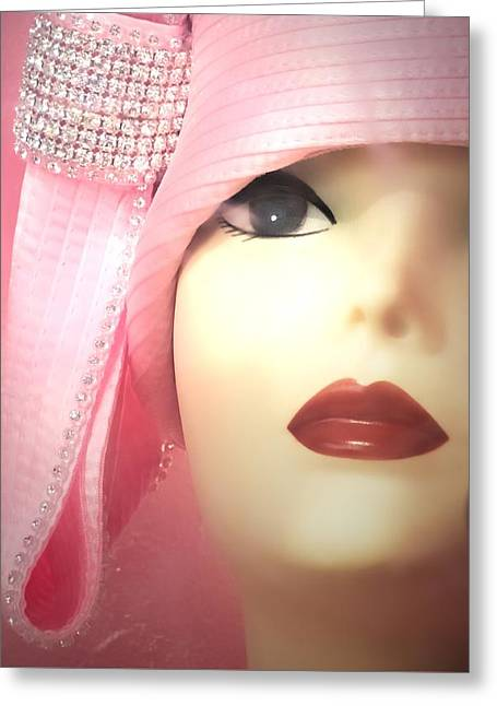 Shades Of Red Greeting Cards - Darlene Glamorous Mannequin Window Display Greeting Card by Melissa Bittinger