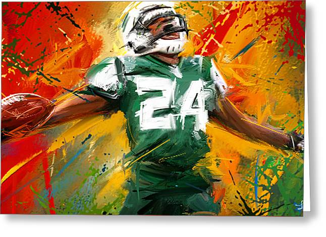 Darrelle Revis Colorful Portrait Greeting Card by Lourry Legarde