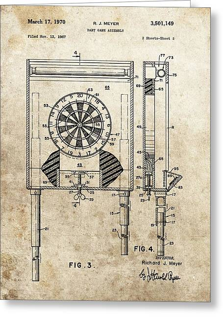 Board Game Greeting Cards - Dart Board Game Patent Greeting Card by Dan Sproul