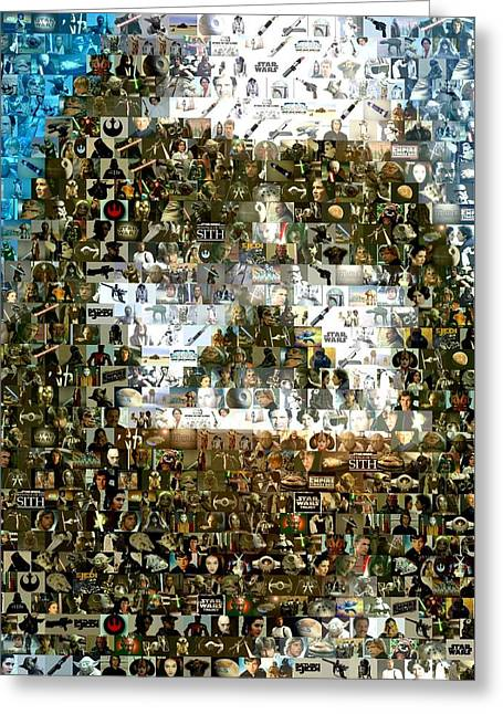 Darth vader mosaic greeting card by paul van scott