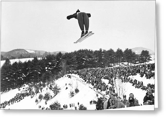 Dartmouth Carnival Ski Jumper Greeting Card by Underwood Archives