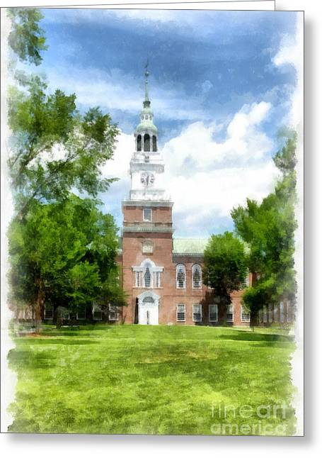 Hanover College Greeting Cards - Dartmouth College Watercolor Greeting Card by Edward Fielding