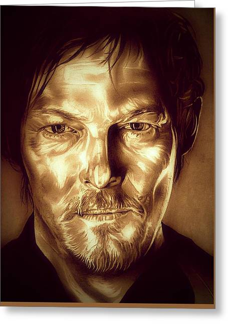 Rick Grimes Greeting Cards - Daryl Dixon Greeting Card by Fred Larucci