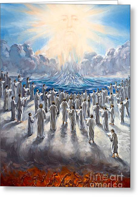 The Leaver Greeting Cards - 1st Resurrection Original Signed Oil Painting The Great White Throne Greeting Card by Vigovsky