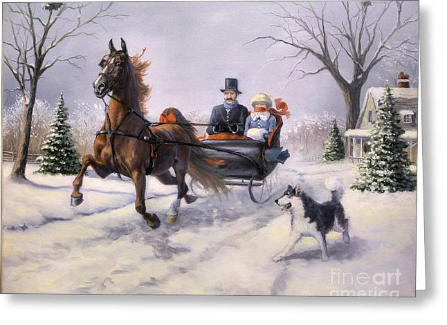 Dashing Through The Snow  II Greeting Card by Jeanne Newton Schoborg