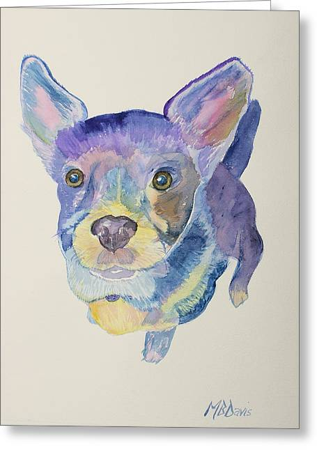 Puppies Paintings Greeting Cards - Dashy Greeting Card by Maria Davis