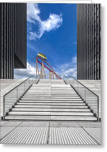 Rollercoaster Photographs Greeting Cards - Da?sseldorf / Medienhafen Greeting Card by Herbert A. Franke
