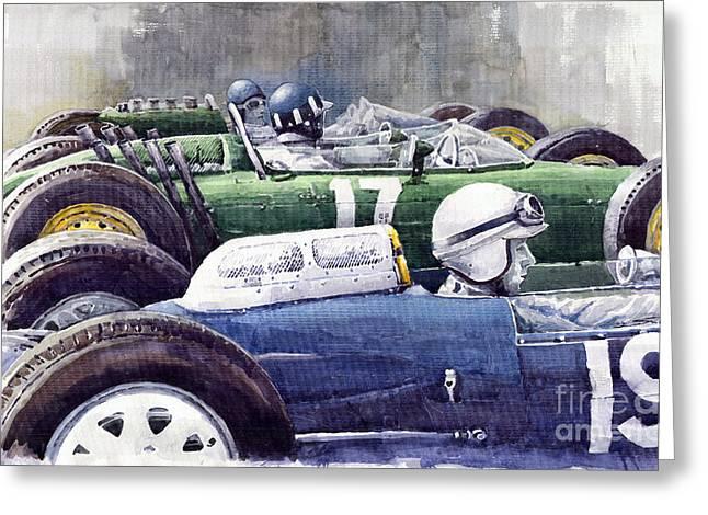 Watercolour Paintings Greeting Cards - Datch GP 1962 Lola BRM Lotus Greeting Card by Yuriy  Shevchuk