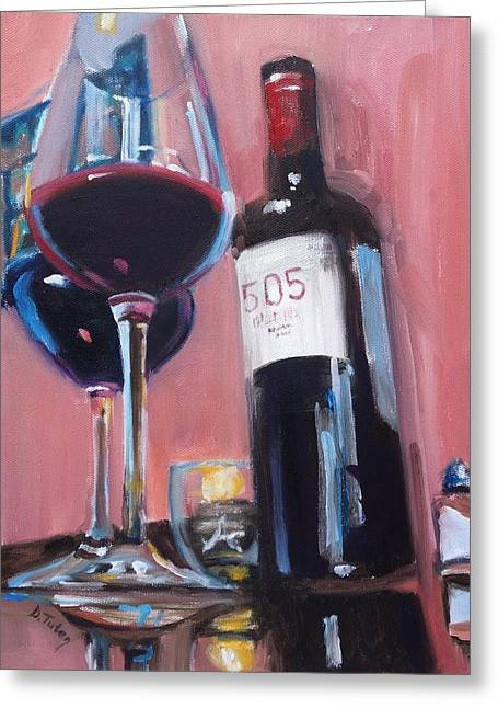 Table Wine Greeting Cards - Date Night at Nopales Greeting Card by Donna Tuten