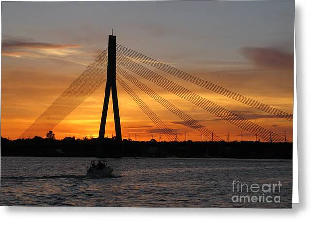 River View Greeting Cards - Daugava Sunset. Riga. Latvia Greeting Card by Ausra Paulauskaite