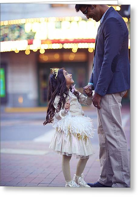 Playful Greeting Cards - Daughter Smiling At Her Father On Urban Greeting Card by Gillham Studios