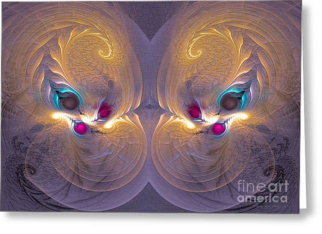 Geometric Digital Art Greeting Cards - Daughters of the sun - Surrealism Greeting Card by Sipo Liimatainen