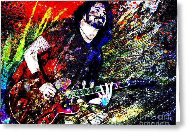 Dave Mixed Media Greeting Cards - Dave Grohl Art  Greeting Card by Ryan RockChromatic
