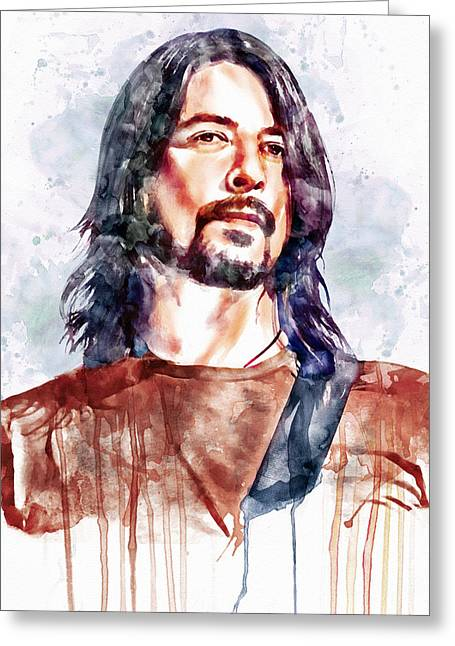 Watercolour Portrait Greeting Cards - Dave Grohl watercolor Greeting Card by Marian Voicu