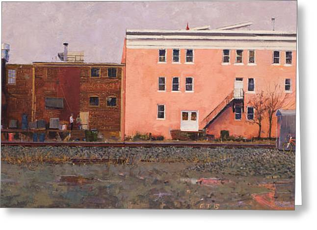 Best Sellers -  - Overcast Day Greeting Cards - Dave Matthews Pink Warehouse Greeting Card by Edward Thomas
