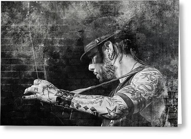 Straps Greeting Cards - Dave Navarro Greeting Card by Lori Hutchison