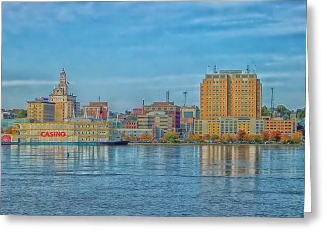 Iowa City Greeting Cards - Davenport Iowa Skyline with Riverfront Casino Greeting Card by Esrever