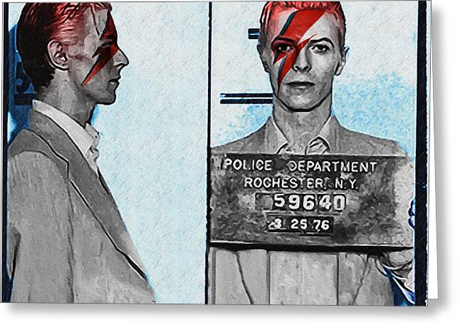 David Bowie - Aladdin Sane Mugshot Greeting Card by Bill Cannon