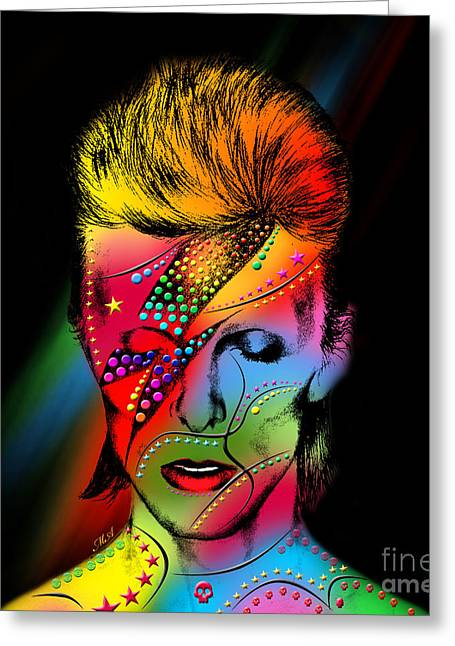 80s Greeting Cards - David Bowie Greeting Card by Mark Ashkenazi